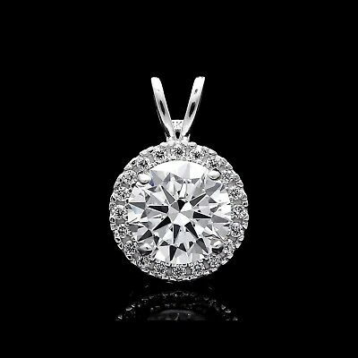 1.50Ct Brilliant Created Diamond Halo Pendant 14k Solid White Gold Round Charm