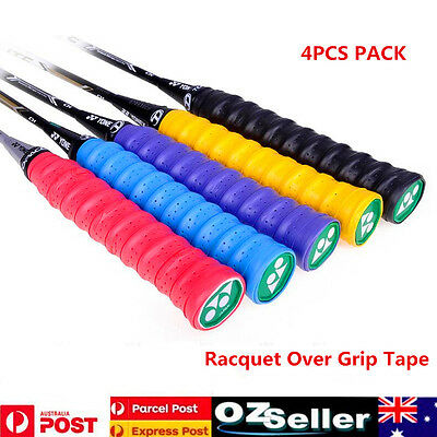 4pcs Anti-slip Tennis Badminton Racket Over Grips Bat Squash Tape Sweat Bands