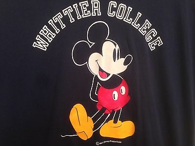 Whittier College Mickey Mouse T-Shirt Blue Size XL Made in the USA