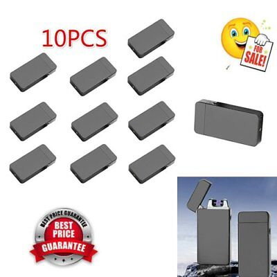 10x USB Electric Dual Arc Metal Flameless Rechargeable Windproof Lighter GG~~