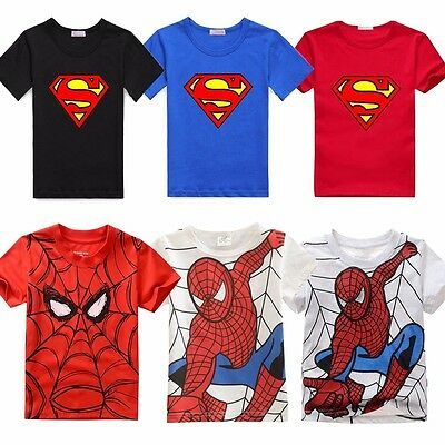 Superman Spiderman Kids Baby Boys t-Shirt Toddler Clothes Top Size 1 2 3 4 5 6 7