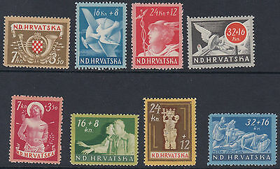 CROATIA : 1944 Postal Employees+ War Invalid Funds sets  SG 123-30 mint
