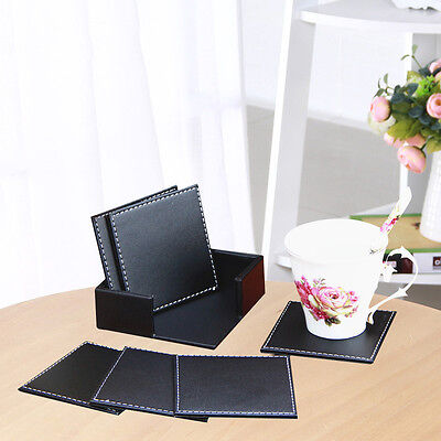 6 × Double-deck Leather Coasters Set Placemat of Cup Mat Pad with Coaster Holder