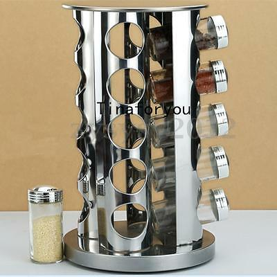 UK Rotating Stainless Steel Spice Rack Stand Holder for 20 Jars Kitchen Worktop