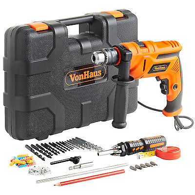 VonHaus 710W 13mm Impact Hammer Drill Driver Masonry 87pc Accessory Set Case