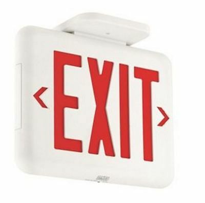 Dual-Lite EVEURWE LED Exit Sign, Red Letters - White NiMH Battery