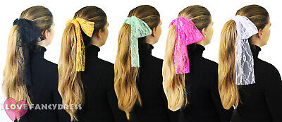 1980'S Lace Headband Neon 80S Hair Head Scarf Fancy Dress Costume Accessory