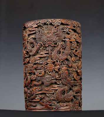 Rare Old Chinese Hand Carving Dragons Bamboo Brush Pot Collection FA085