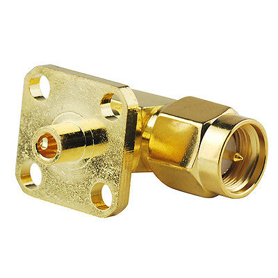 SMA Male plug 4 hole panel mount Right Angle RF connector Solder for Cable .086""