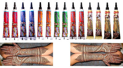 Quick Dry Golecha Multi Color Dark Henna Mehandi Tube Temporary Tattoos Body Art