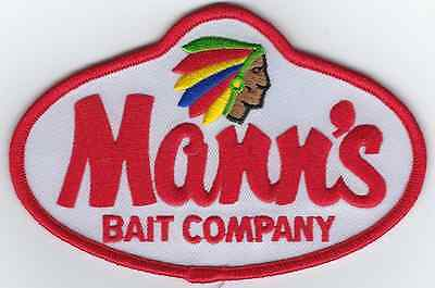 Mann's Fishing Bait Patch 4-1/2 Inches Long Size New Embroidered Logo Iron On