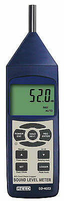 REED SD-4023 SD Series Sound Level Meter with Datalogger, 30 to 130dB