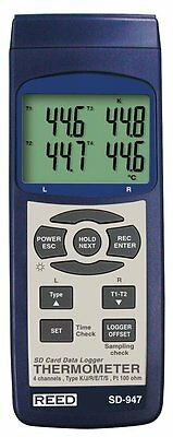 REED SD-947 SD Series 4ch Thermocouple Thermometer Datalogger, Type K,J,R,S,E,T