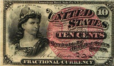 1869-75 10 CENT U.S. Fractional Note 4th Issue LIBERTY FR#1258  XF/AU Circulated
