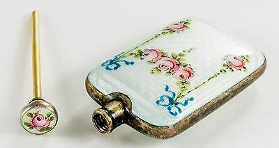 Sterling Silver Floral Guilloche Enamel  BOTH SIDES Miniature Perfume Bottle