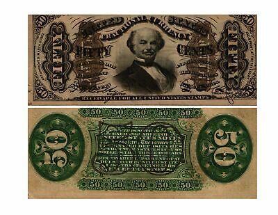 1864-69 50 CENT U.S. Fractional Note 3rd Issue SPINNER FR#1328  AU/UNC EMBOSSING