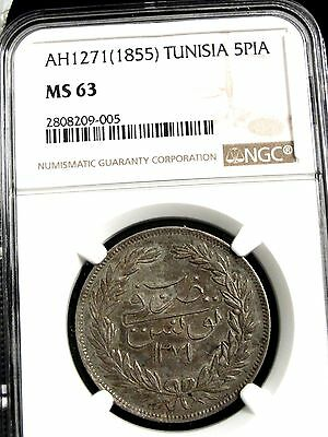 AH1271 1855 TUNISIA TUNIS 5 PIASTRES SILVER COIN GRADED MS63 by NGC FINEST KNOWN
