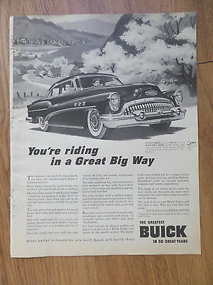 1953 Buick Riviera Ad Your Riding in A Great Big Way