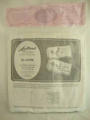 Vintage Lee Wards Stamped ROOSTER NOVELTY Pillowcases to Embroider Crochet