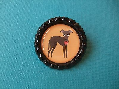Handmade Whippet Dog Brooch Bottle Cap Badge Cartoon Puppy Greyhound Lurcher