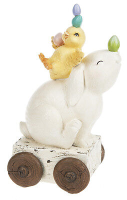Ganz Easter Spring Decor 9 in Bunny And Chick Balancing Eggs Figurine EA17594