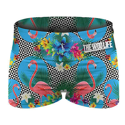 New The WOD Life - Women's Booty Shorts - Acid Flamingo from The WOD Life