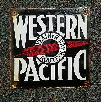 western pacific porcelain sign.
