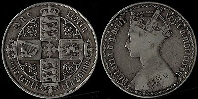 narkypoon's GOOD MIDDLE GRADE 1881 Victoria 925 STERLING SILVER Gothic Florin