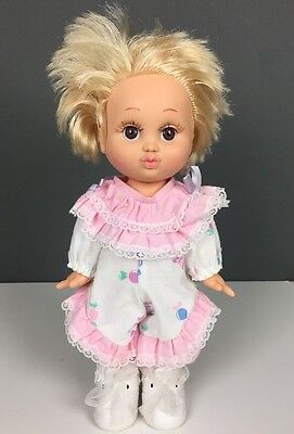 1990 Galoob Baby Face Doll So Loving Laura #4 Blonde Hair Pink White Clothes 13""