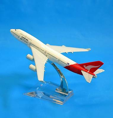 New QANTAS 1:437 Metal Aluminium Boeing 747 Aircraft Plane Model 16cm Small