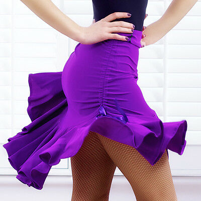 Womens Latin Salsa Tango Rumba Cha Cha Ballroom Dance Dress Skirt Black Purple