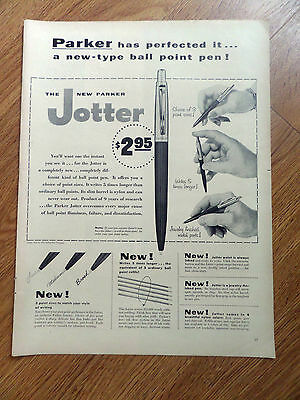 1954 Parker Jotter Ball Point Pens Ad With 3 Pint Sizes