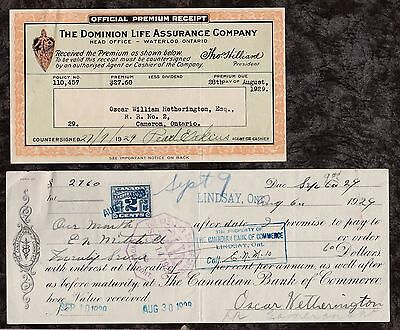 1929 Canadian Bank Of Commerce Lindsay Ont. Branch Promissory Note Dominion Life