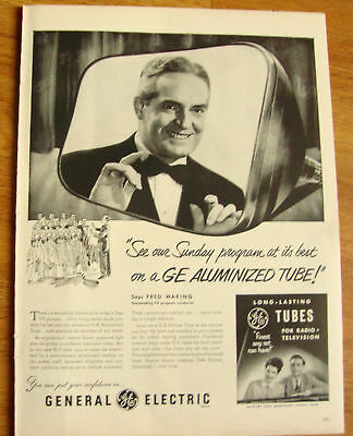 1951 TV Television GE Ad Fred Waring Conductor