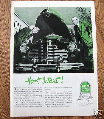 1946  Quaker State Motor Oil Ad  Chevy Olds Ford ?