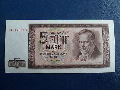 1964 DDR/GDR East German 5 Mark Bank Note-UNC Cond.16-256