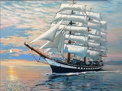 BNIP DIY Digital Oil Painting By Numbers onto Canvas:  Clipper Ship  16 x 20cm