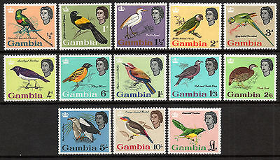 Commonwealth Gambia 1963 QEII Birds set of mint stamps value to £1 LMM