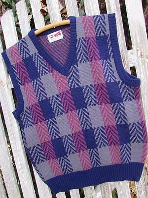 Vintage Mens Arrow Sport plaid acrylic sweater vest sz M Medium EUC navy gray