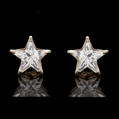 Star Shape Solitaire 14K Solid Yellow Gold Heavy Basket Studs Lg