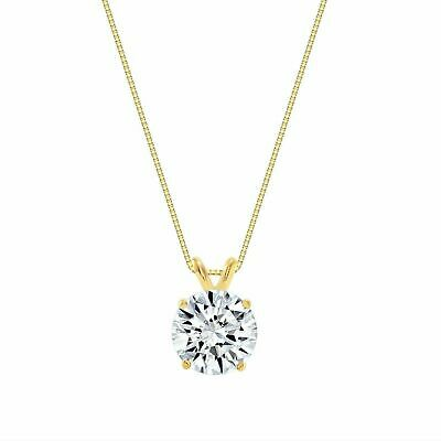 2.00ct Created Diamond Pendant 14K Solid Yellow Gold Solitaire Charm 8mm