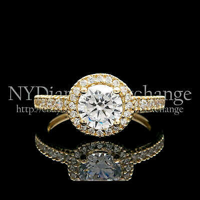 1CT Brilliant Round Cut Engagement Ring Solid 14K Yellow Gold Wedding Band