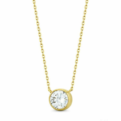 """1CT Brilliant Created Diamond Bezel 16"""" Chain Solid 14K Yellow Gold Necklace Set"""