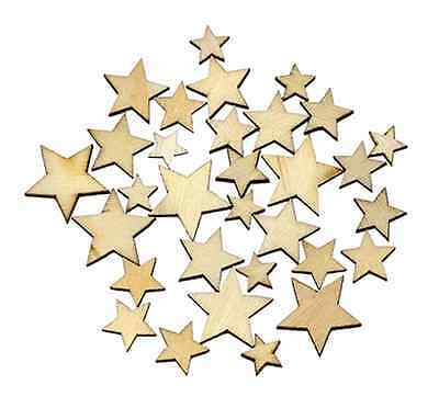 100pcs Rustic Wooden Star Shape Wood Piece Chip Wedding Table Scatter Decor UK