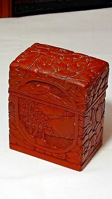 ANTIQUE 18c CHINESE RED LACQUERED  HAND CARVED WOOD CARDS HOLDER DEVIDED BOX