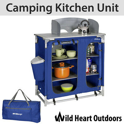 Camping Kitchen Unit Cook Table Foldable Storage Cupboard Windshield