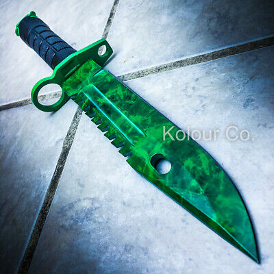 "13"" CS GO Tactical Fixed Blade Hunting Knife Bayonet Bowie Emerald GAMMA DOPPLER"