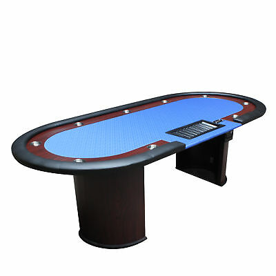 """96"""" 10 Players Texas Hold'em Wooden Legs Poker Table With Drop Box Blue Ver.2"""