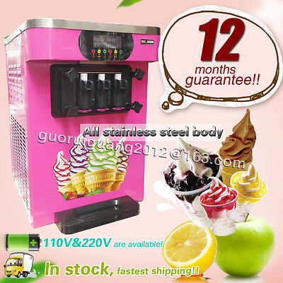 18L/H 3 Flavor Yogurt Ice Cream Machine,ice cream making Machine,R22 refrigerant