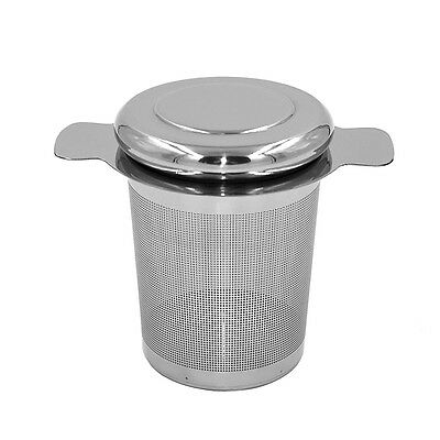 Stainless Steel Tea Infuser 304 w/ Lid as Drip Tray Brew-in-Mug Tea Strainer